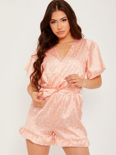 Wrap Front Belted Satin Printed Playsuit